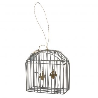 Two tiny brass birds flit around this pretty little bird cage. Lovely for the Christmas tree or hanging in a window year round.