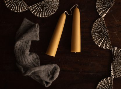 Giant hand-dipped beeswax candle