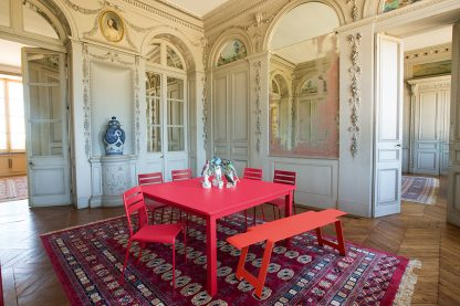 Origami bench in Capucine, Facto chairs and Craft table in Pink Praline