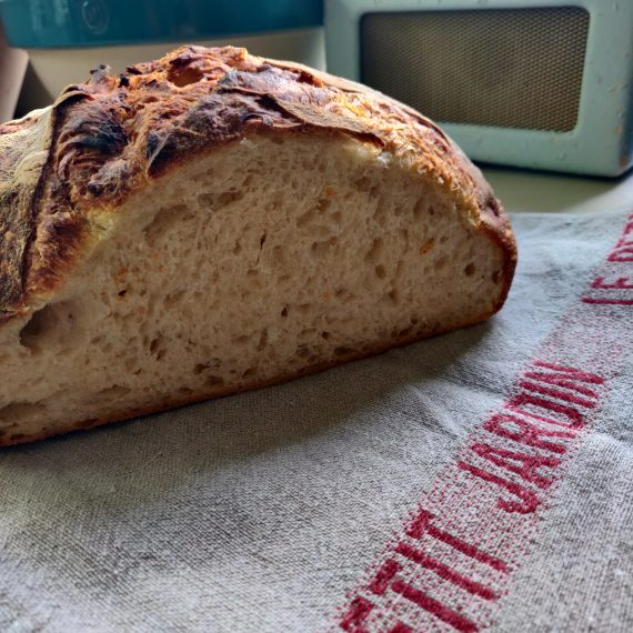 le petit jardin tea towel. Sourdough loaf made by Mr LPJ from a Dan Lepard recipe.